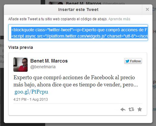 Insertar tuit Facebook Socialancer
