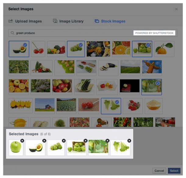 Seleccionar imágenes Shutterstock Facebook Socialancer