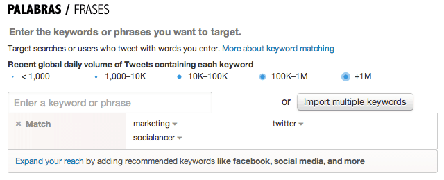 campaña tweets keywords
