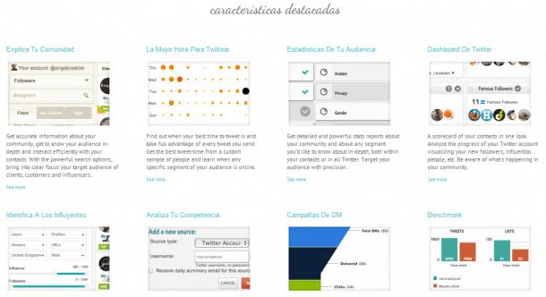 Características visuales SocialBro Socialancer