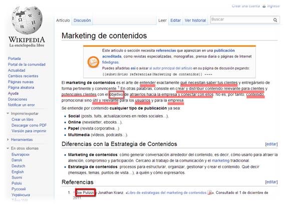 Definición Marketing de contenidos