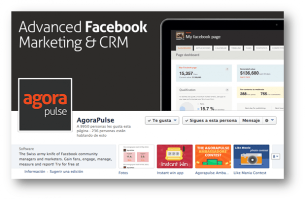 Agorapulse página de Facebook Socialancer e1398166057217 9 herramientas nativas de Facebook para mejorar tu Marketing Online