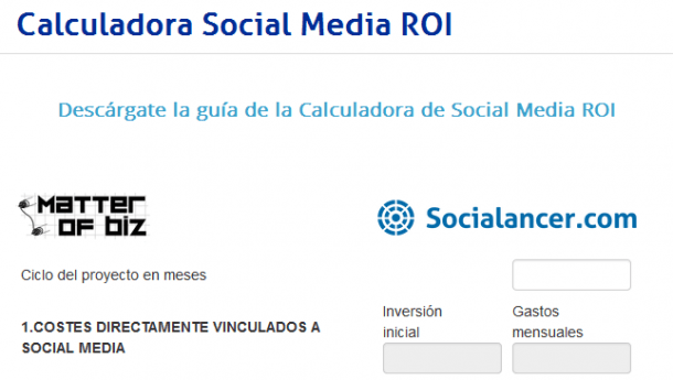 Calculadora de Social Media ROI Socialancer