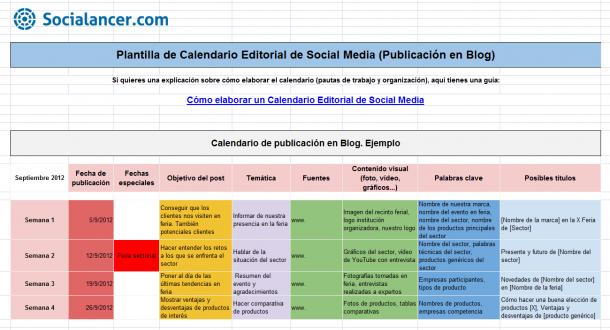 Calendario editorial Semanal e1406293308349 5 pasos para pasar de 0 a 1.000 visitas diarias en tu blog en sólo 6 meses