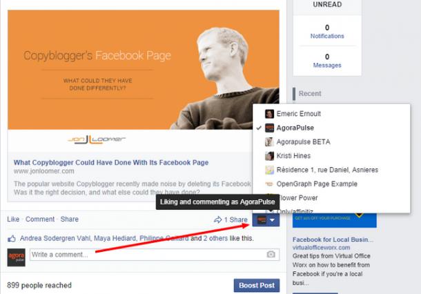 Comment as a page 4 e1414625319245 [Novedad Facebook] Ya puedes gestionar los comentarios de forma más eficiente
