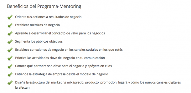 Beneficios Programa Mentoring1 e1425020176996 9 claves para diferenciarte de tu competencia en Marketing Online