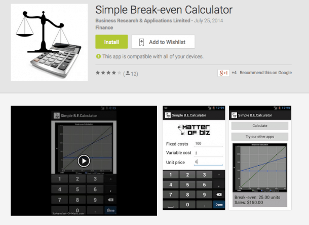 Simple Break Even Calculator