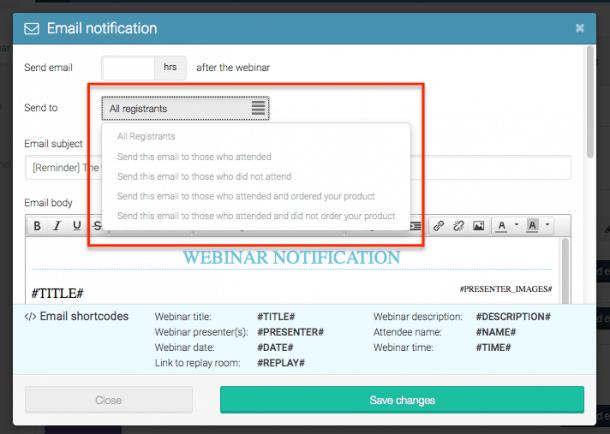 Notificaciones email WebinarJam