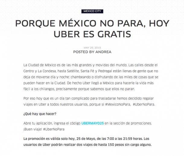 Uber gratis México