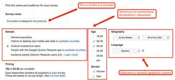 Segmenta audiencia Google Surveys