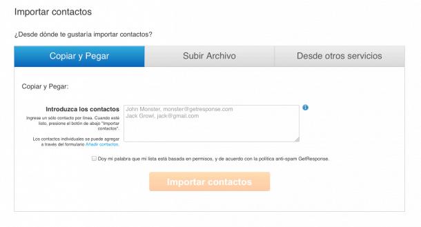 Importación contactos GetResponse