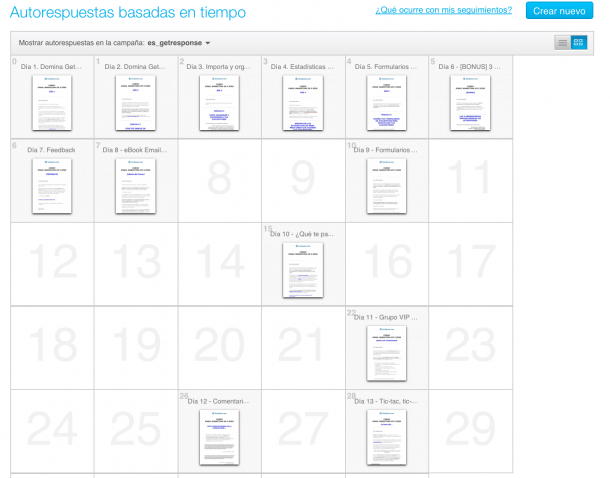 Autorrespuestas Curso Email Marketing con GetResponse