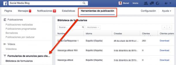 Facebook Lead Ads Herramientas de publicación