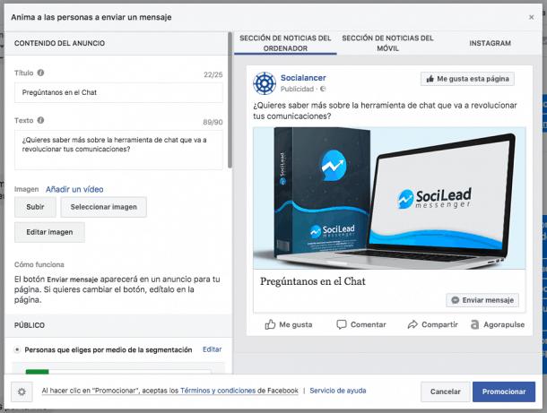 Facebook Messenger Promoción Facebook