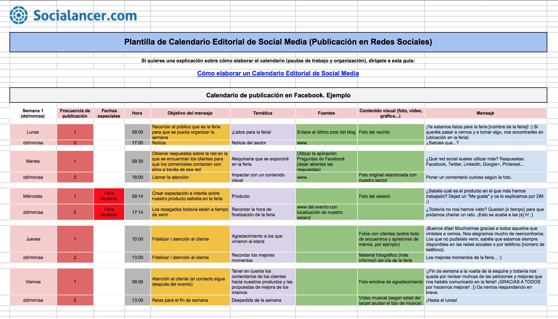 Calendario Social.Calendario Editorial De Social Media Socialancer Recursos