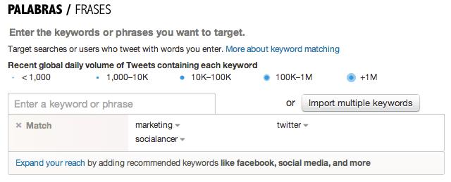campaña tweets keywords
