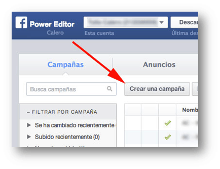 Crear campaña Power Editor Socialancer