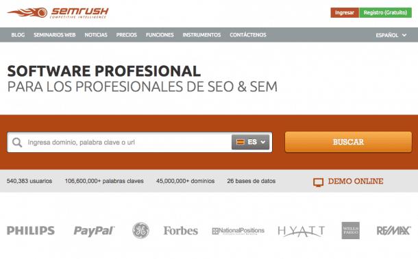 SEMrush interfaz