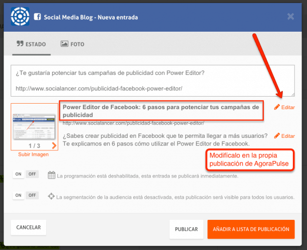 Agorapulse facebook ads