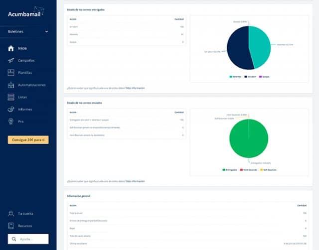 Acumbamail - Obtén informes en tiempo real